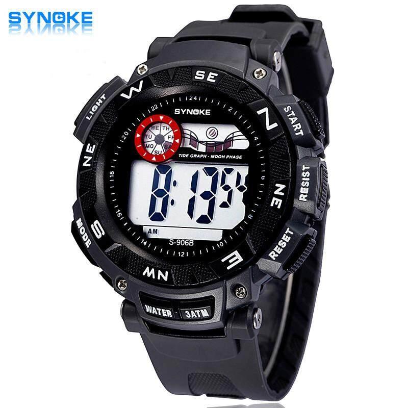SYNOKE Baru Olahraga LED Digital Kuarsa Jam Tangan Pria Alarm Jam Tangan Olahraga Terkini Biru Bercahaya Tampilan Anti-Air Jam 89068