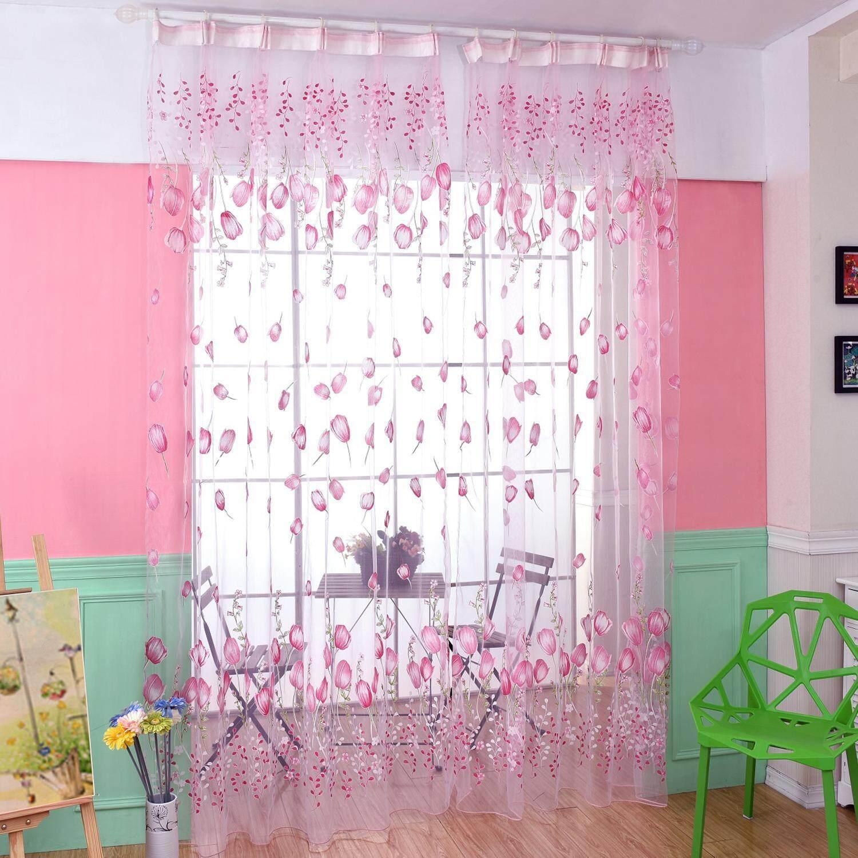 opoopv Fashion Home Decor 7 Color Pastoral Europe Style Tulip Flower Pattern Chiffon Window Curtain - intl