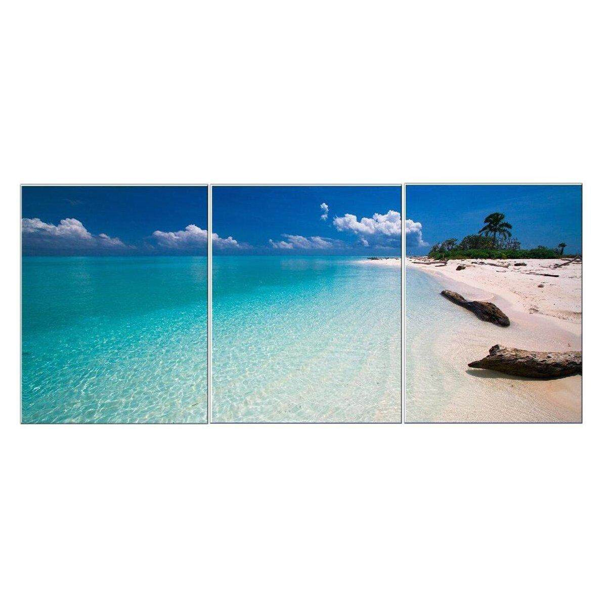 3 Panels Modern Abstract Beach Poster Art Canvas Print Painting Home Wall Decor # Framed