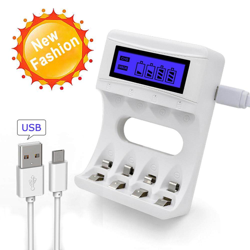 Latest 4 Slots Lcd Screen Usb Battery Charger For Rechargeable Aa Aaa Ni Cd Ni Mh Planiesty Intl