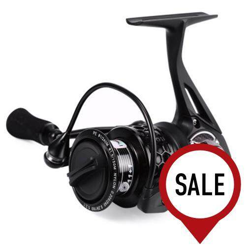 TSP2000 TRULINOYA 12BB METAL ALUMINUM SPINNING FISH REEL WITH SPARE SPOOL FISHING TACKLE (BLACK)