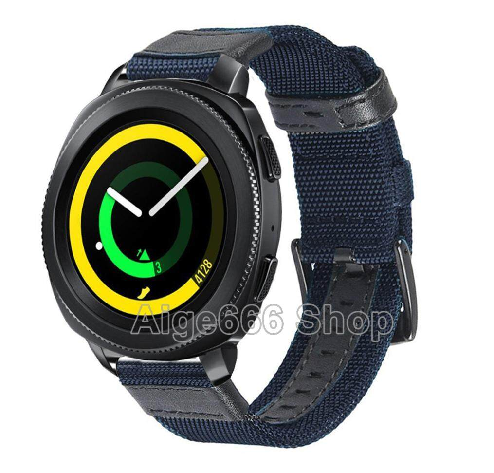 Woven Nylon Band Strap Sport Wristband with Stainless Steel Metal Buckle for Samsung Gear Sport Smart Watch