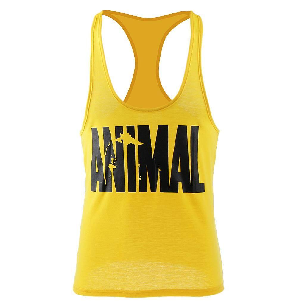 MagiDeal Men's Sleeveless Shirt Animal Gym Sports Vest Singlets Tank Top XL Yellow - intl