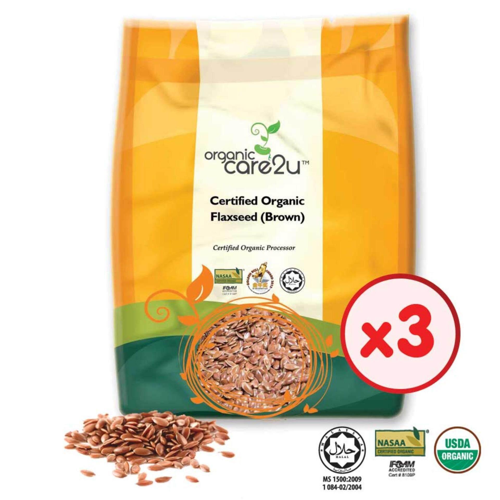 Organic Care2u Organic Flax Seed (brown) (400g) - [Bundle of 3]