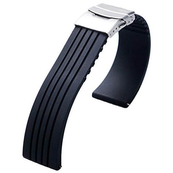 Yisuya 22 Mm Anti-Air Silikon Karet Jam Tangan Tali Tali Deployment Gesper untuk Citizen LG G-Jam Tangan Seiko-Internasional