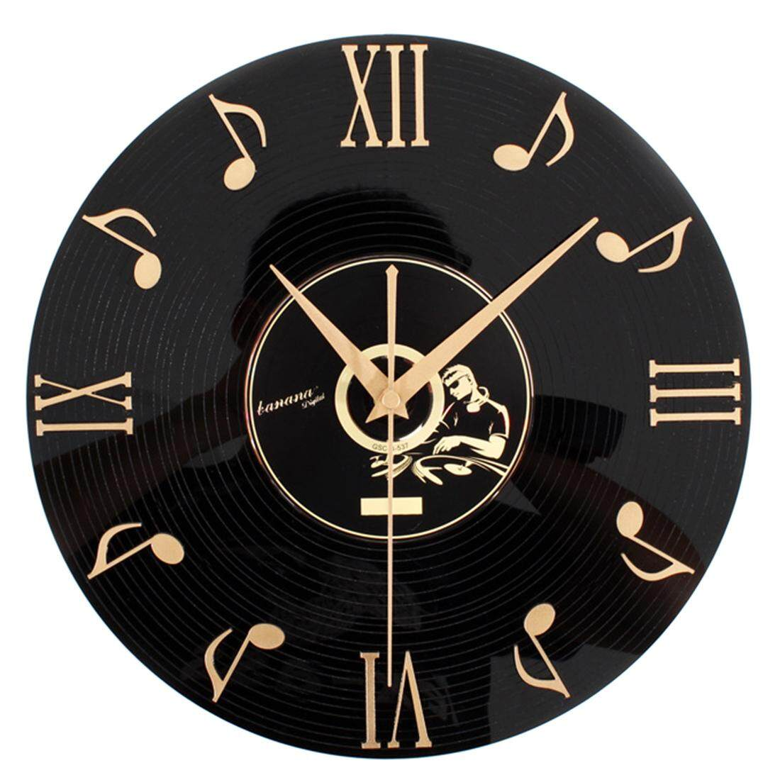 360DSC Fashion Creative Retro Wall Clock Music Notes Three - Dimensional Vinyl CD Album Clock - Black - intl