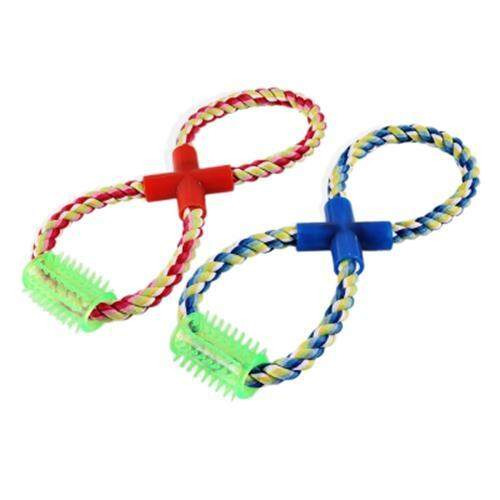 DURABLE CHEW EIGHT SHAPE COTTON KNOT PET ROPE TOY (COLORMIX)