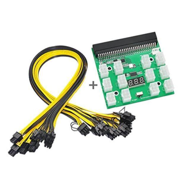 Ethereum ETH ZEC Mining Power Supply 12V GPU/PSU Breakout Board + 12pcs 16AWG PCI-E 6Pin to 6+2Pin Cables 20Inch Length Compatible with GPU Mining Power Supply -HP 1200W/750W PSU. - intl
