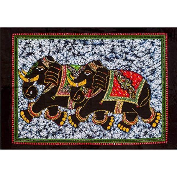 Fable9 Gajah Dinding Tapestry Indian Batik Tradisional Desain Dekorasi Rumah Persegi Panjang Katun Kain Dinding Gantungan, kecil Ukuran 40X30 Inci-Internasional
