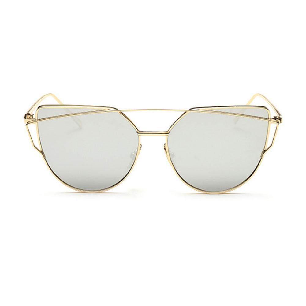 Gasfun Kacamata Hitam untuk Wanita, Niceeshop Kucing Mata Lensa Datar Cermin Klasik Bingkai Logam Kacamata Hitam UV400, gold Transparan-Internasional
