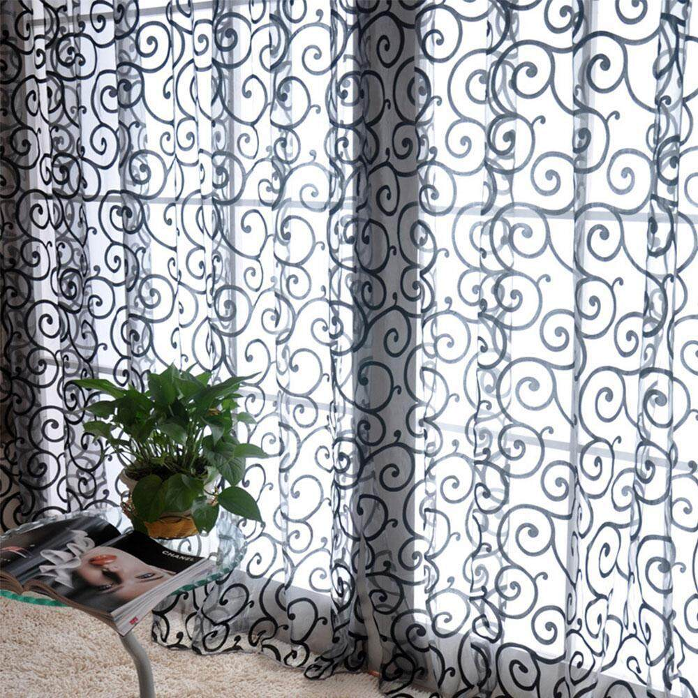 sqamin 1 Panel Flocking Transparent Tulle Curtains Window Screening Treatments For Living Room ,1M X 2M,8 Colors For Choose - intl