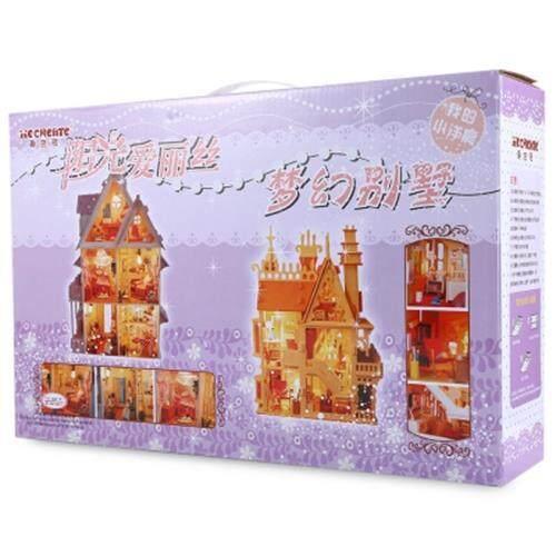 IIECREATE LOVELY DIY HANDMADE ASSEMBLED VILLA 42CM HEIGHT HOUSE MODEL (PINK) toys for girls