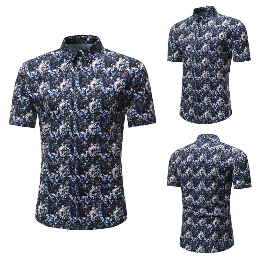 Buy Men Shirts Cotton Slim Fit Tendencies Tshirt Off Line Hitam M Hot Sale Man Fashion Floral Printed Blouse Casual Short Sleeve Tops Sousashop Intl