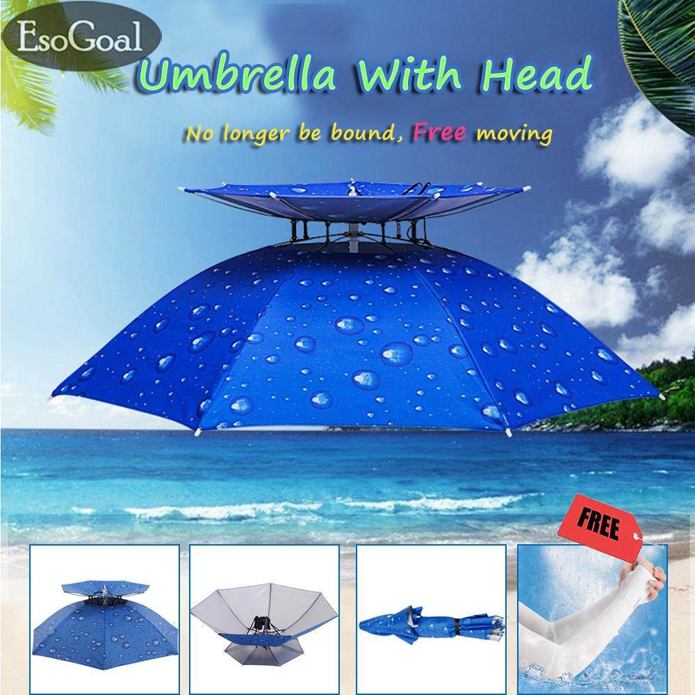 Esogoal 30 Diameter Hand Free Umbrella Hat Double Layer Folding Compact Uv Wind Protection Umbrella Diameter For Fishing Gardening - Intl By Esogoal.