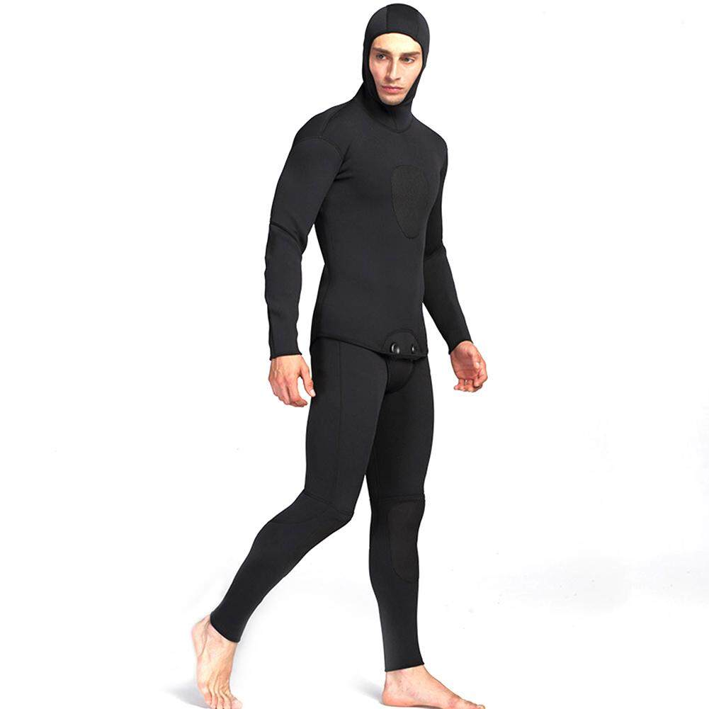 Redcolourful Men's 3mm Waterproof Neoprene Full Wetsuit Two Piece Set of Long Johns and Jacket with