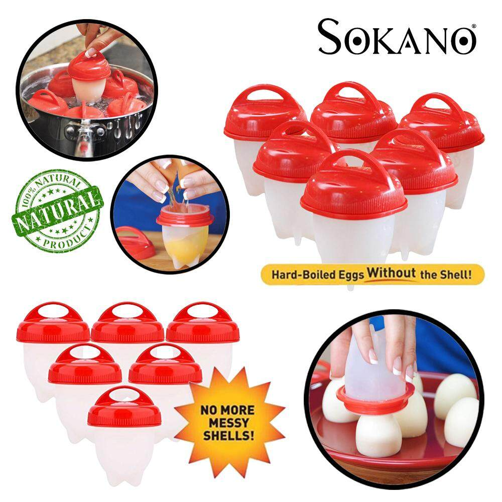 SOKANO 6 pcs Non Stick Silicone Egg Boiler Eggies Cup Pod Inserts Egglettes Egg Cooker Cooking Container Mold Mould – Hard Boil Eggs Boiled without Shell