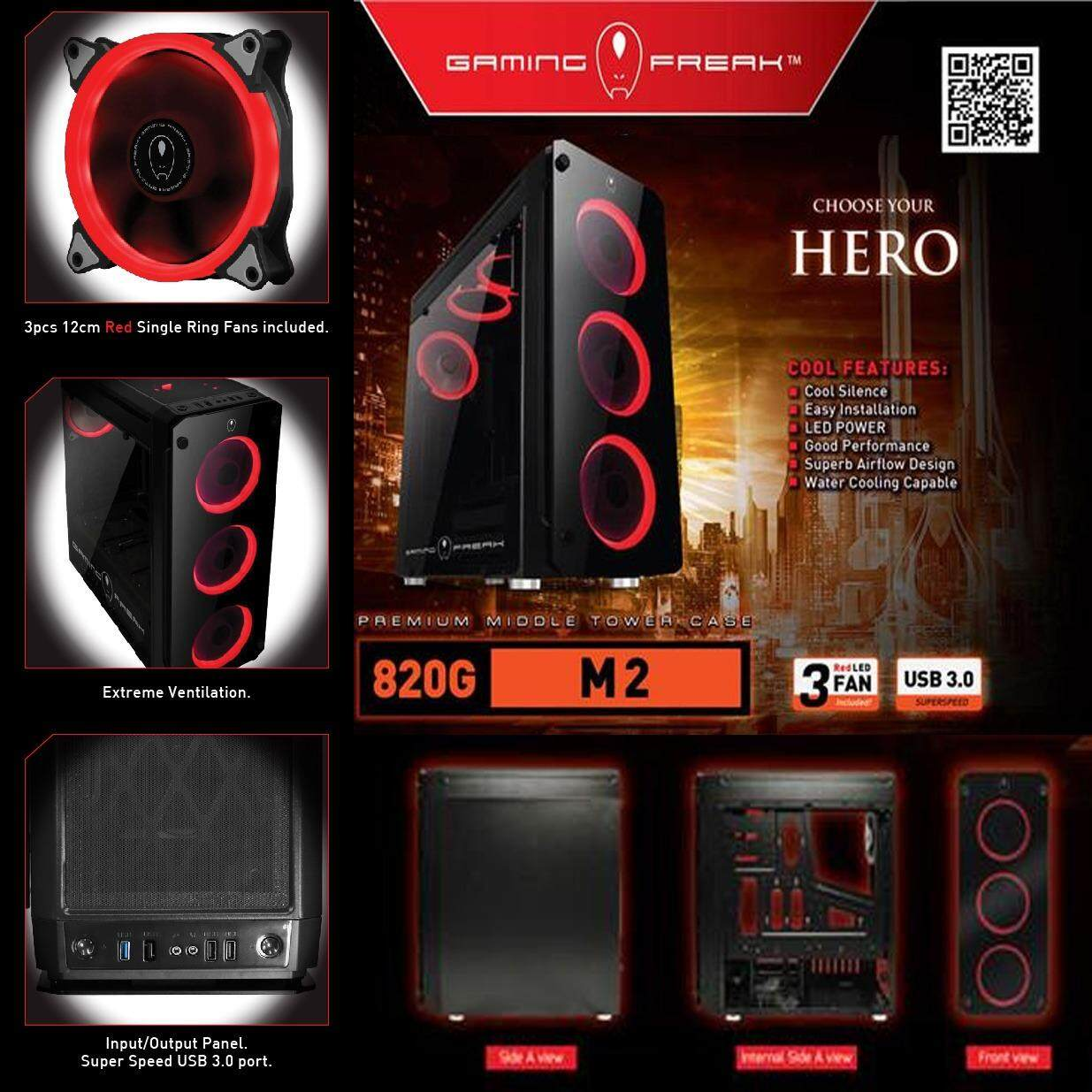 Official AVF Gaming Freak M2 820G Temper Glass Middle Tower Case (USB3.0) Malaysia