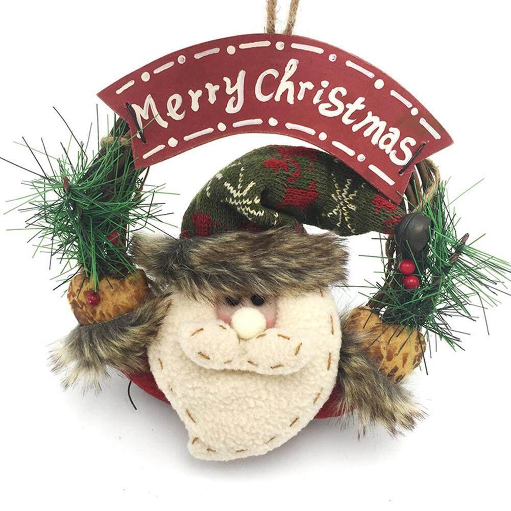 Mainan Indah Lucu Santa Klausa Pintu Wreath Ornamen Natal Snowman Xmas Rotan Gantung Gantung Garland untuk Dekorasi Rumah Gaya: orang Tua