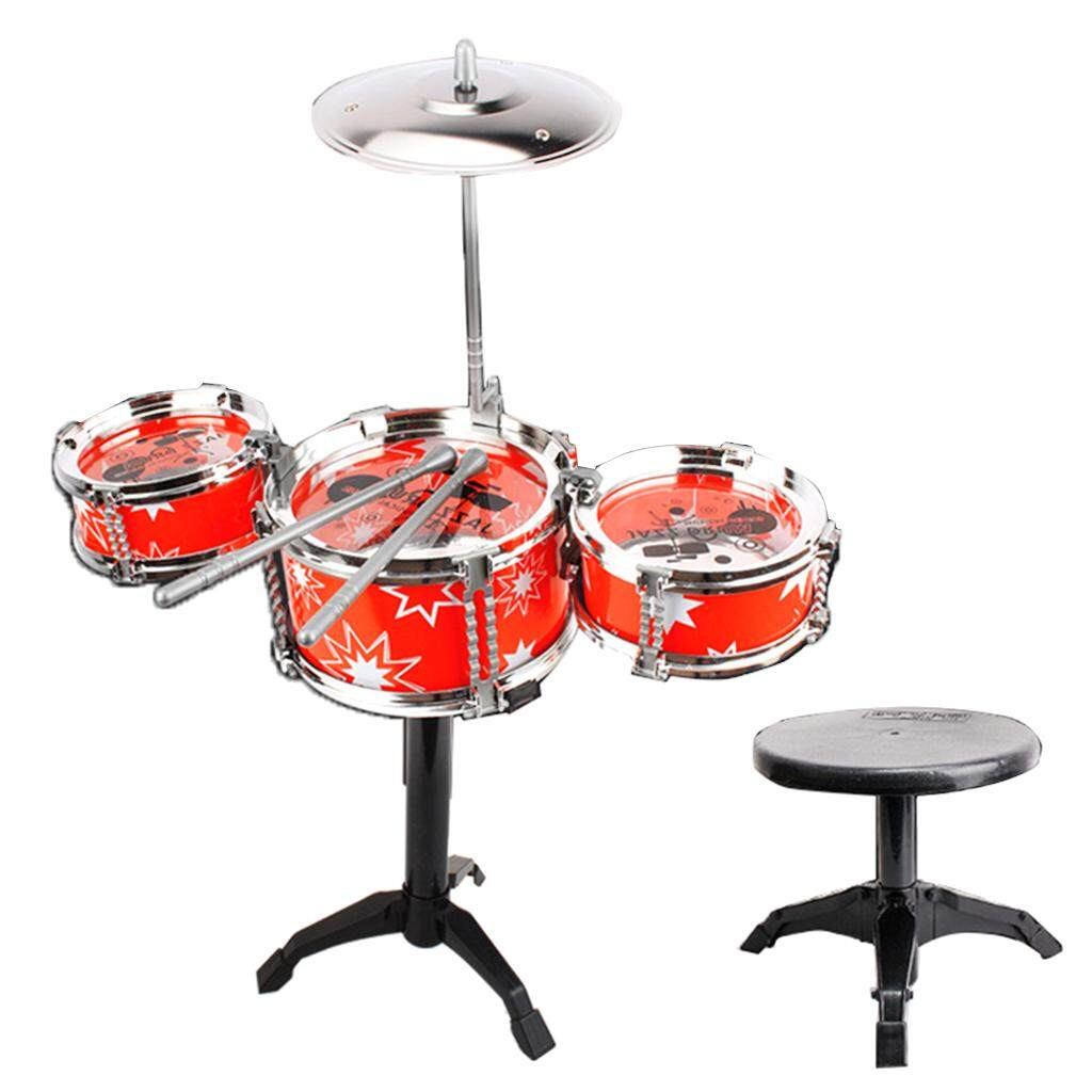 MagiDeal Mini Jazz Drum Percussion Instruments Set Musical Toy -3 Drums +Stool Red - intl