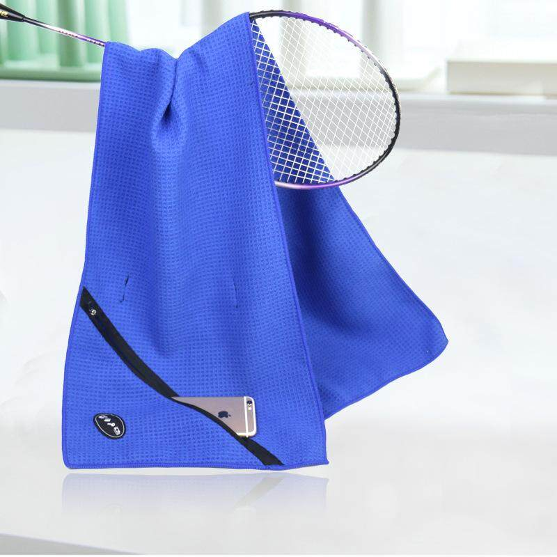 Strong Absorbent Outdoor Zipper Pocket Sports Towel Cool Towel  Blue By Glimmer.