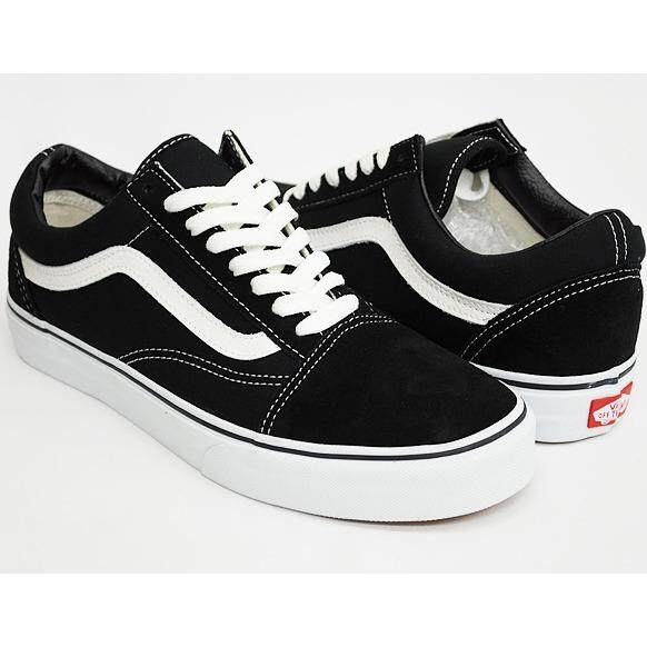 VANS Old Skool Canvas Sneakers Classic White Black Women Mens Low Cut deb6f638fc