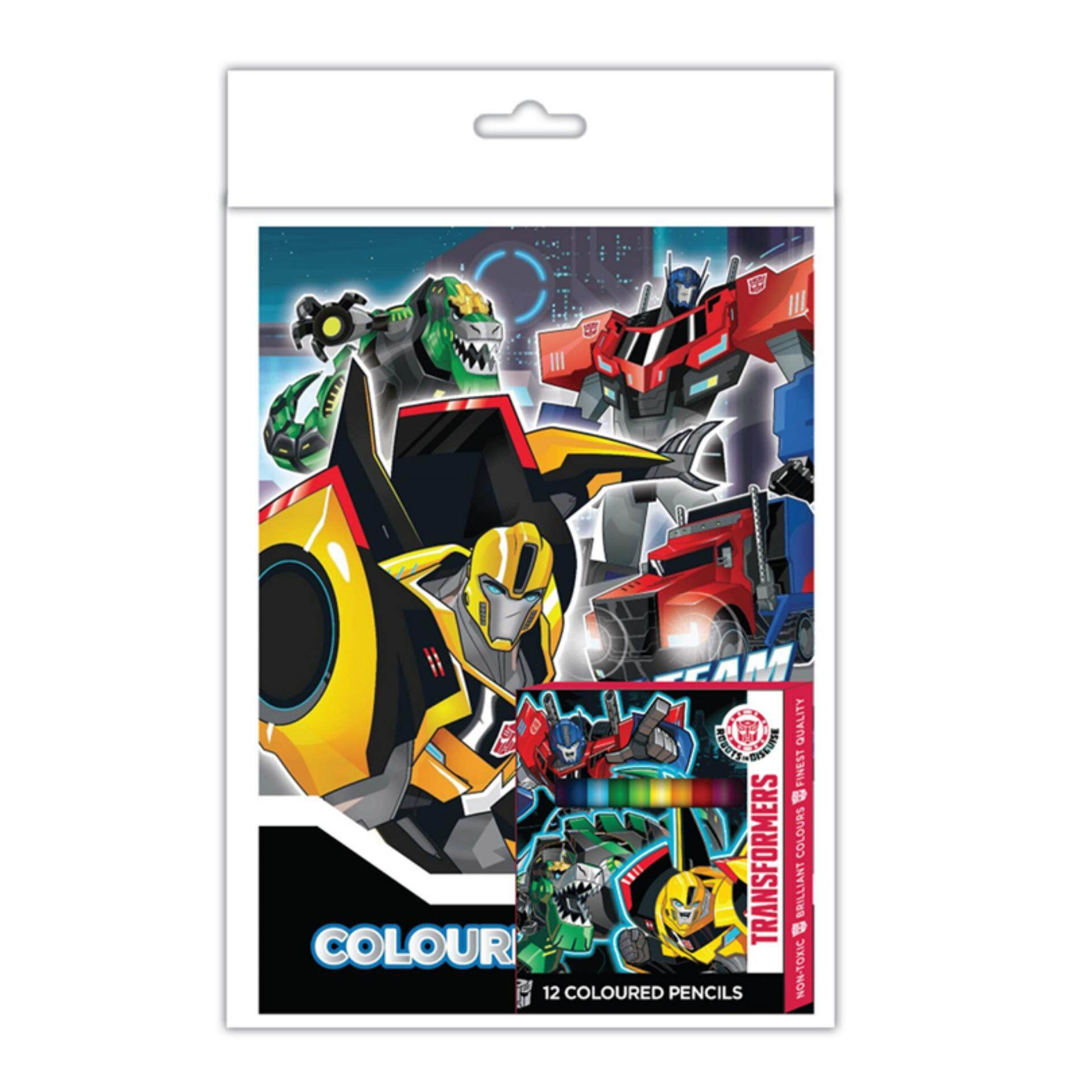 Transformers Activity Book With Colour Pencil Set - Multicolour