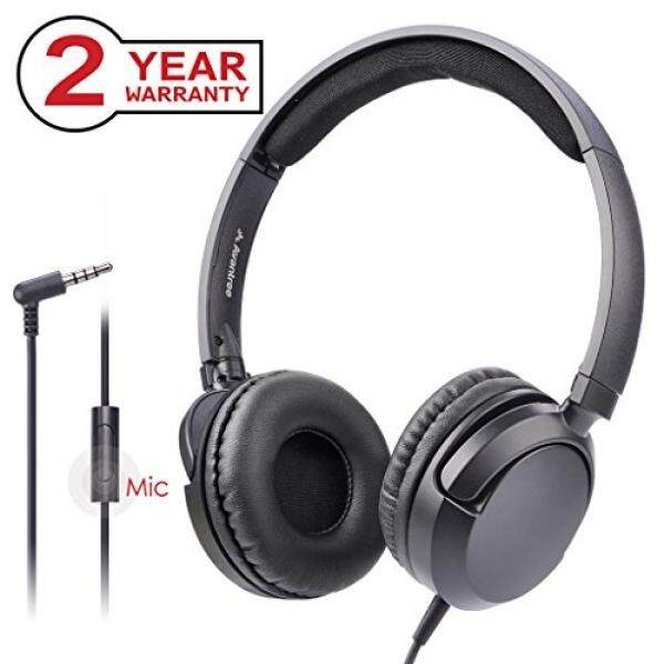 Avantree Suara Yang Luar Biasa Ringan Kabel Headphone dengan Mikrofon, 1.5 M Kabel Panjang untuk Orang Dewasa, Anak-anak, anak Laki-laki Anak Perempuan, Pada Telinga Headset Lipat Datar untuk Ponsel, PC, Laptop, iPad, tablet-HF026-Intl