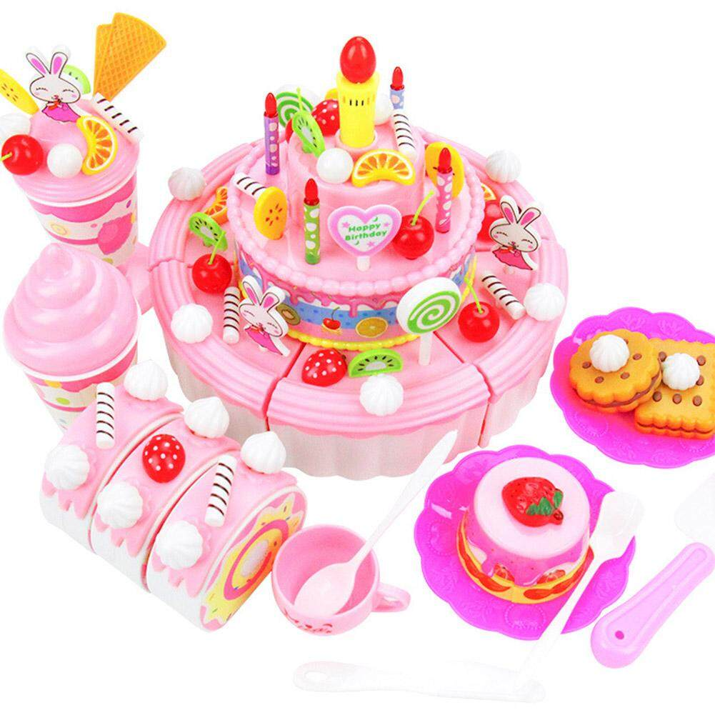 Yunmiao 103 Pcs DIY Pretend Mainkan Fruit Cutting Simulasi Kue Ulang Tahun Mainan Makanan dengan Musik