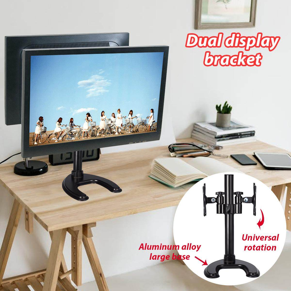 Dual Monitor Arm Table Desk Mount Stand For 2 Lcd Fully Adjule Upto 27