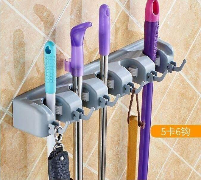 Mop and Broom Holder Hanger Storage (5 Slots, 6 Hooks)
