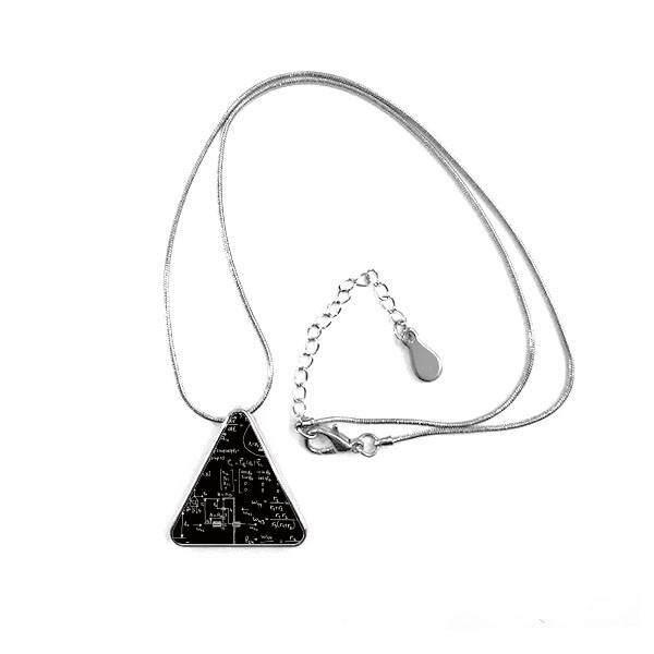 Matrix Rumus Matematika Ilmu Kalkulus-sosok Segitiga Bentuk Liontin Kalung Perhiasan dengan Jaringan Dekorasi Hadiah-Internasional