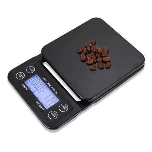 DIGITAL KITCHEN FOOD COFFEE WEIGHING SCALE + TIMER (BLACK)