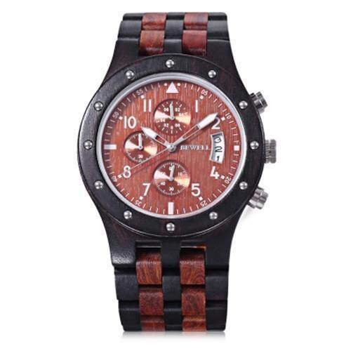 BEWELL ZS - W109D MALE WOODEN QUARTZ WATCH JAPAN MOVT WORKING SUB-DIAL DATE DISPLAY WRISTWATCH (EBONY WITH RED SANDALWOOD)