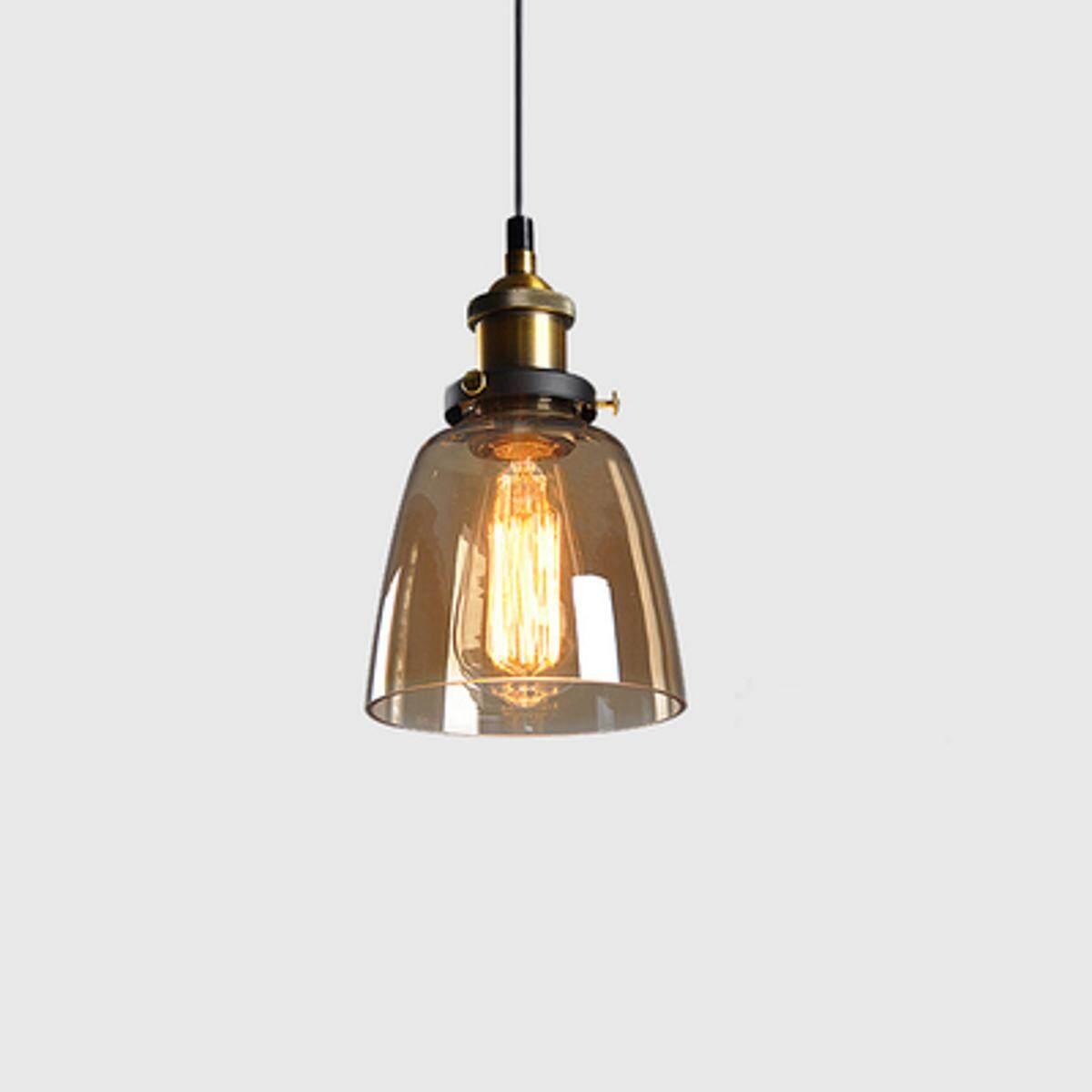 Modern Vintage Industrial Retro Loft Glass Ceiling Lamp Shade Pendant Light