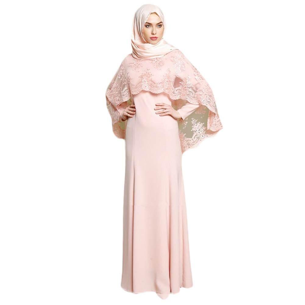 2 PCS Muslim Long Sleeve Maxi Dress Islamic Lace Kaftan Party Evening Women Dress Floor Length