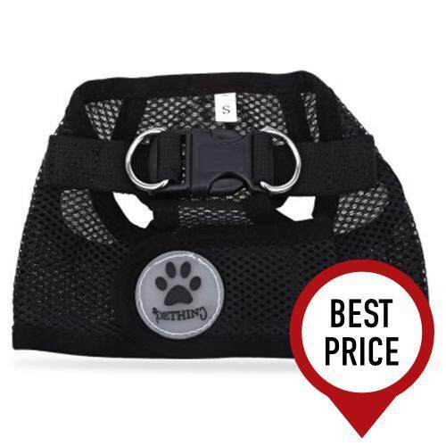 PETHING PET HARNESS LEASH STRAP SOFT MESH DOG CAT ADJUSTABLE VEST SAFE COLLAR CLOTH WITH CLIP (BLACK)