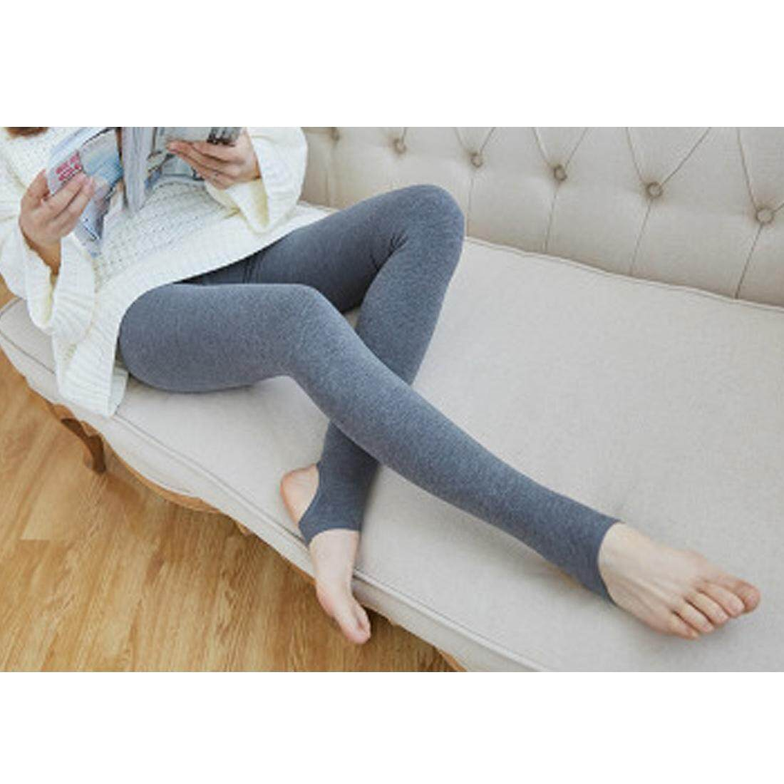 Tinggi Wanita Musim Dingin Hangat Pinggang Bulu Lined Legging Pelangsing Kaki Stirrup Celana Ketat-Internasional