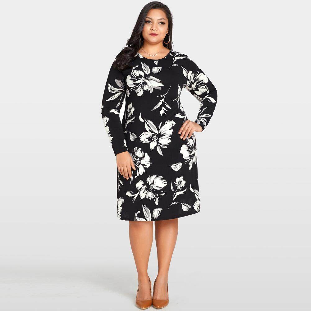 8521c3881618f Women Floral Printed Dress O-Neck Long Sleeve Loose Midi Dress Casual Plus  Size Vestidos - intl