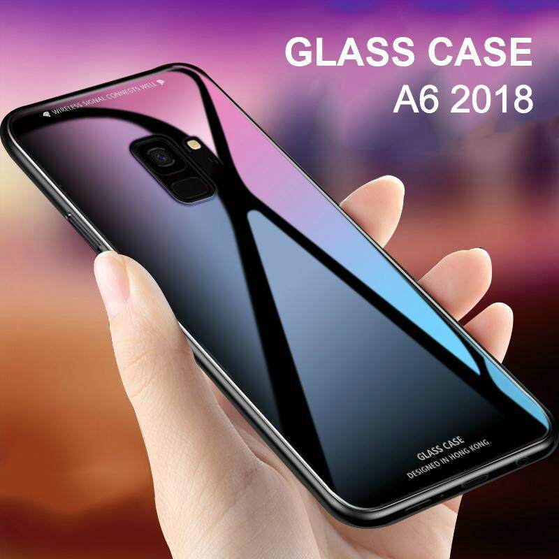 For Galaxy A6 2018 glass Case Full Protection Tempered Glass back cover casing for Samsung Galaxy A6 case housing