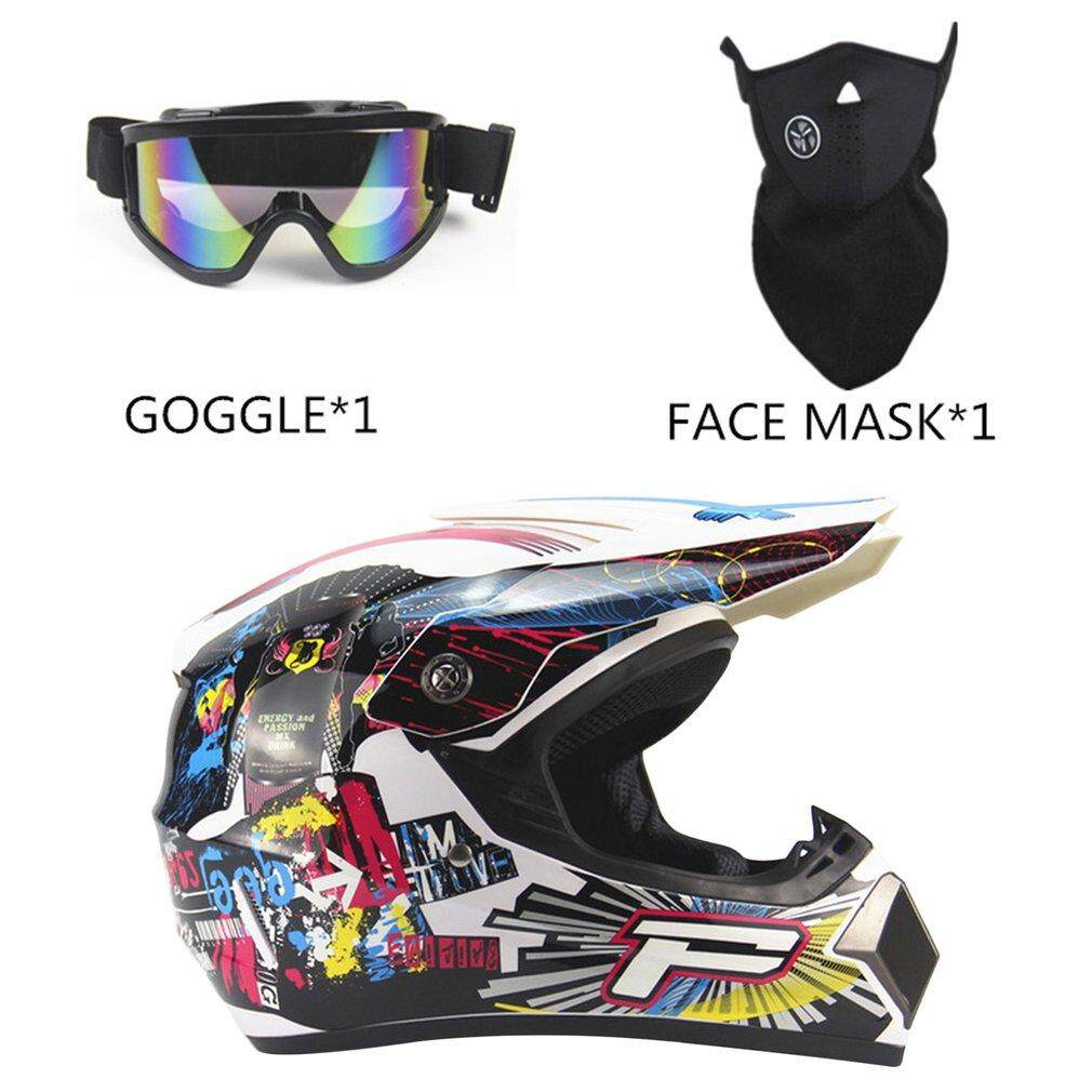 WOND 3PCS/SET Breathable Motorcycle Helmet Full Face Racing Motorcycle Helmet White #6 M/L/XL