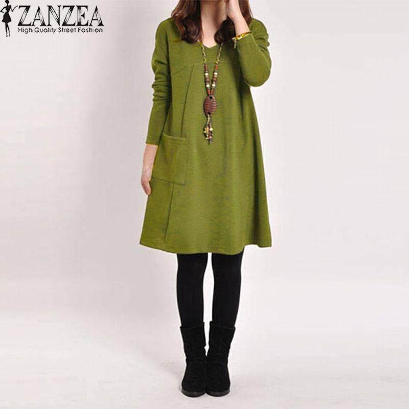ZANZEA Autumn Women Casual Cotton Loose Solid Pockets Dress Robe Female Long Sleeve V Neck Dresses Vestidos Femininas Plus Size Green
