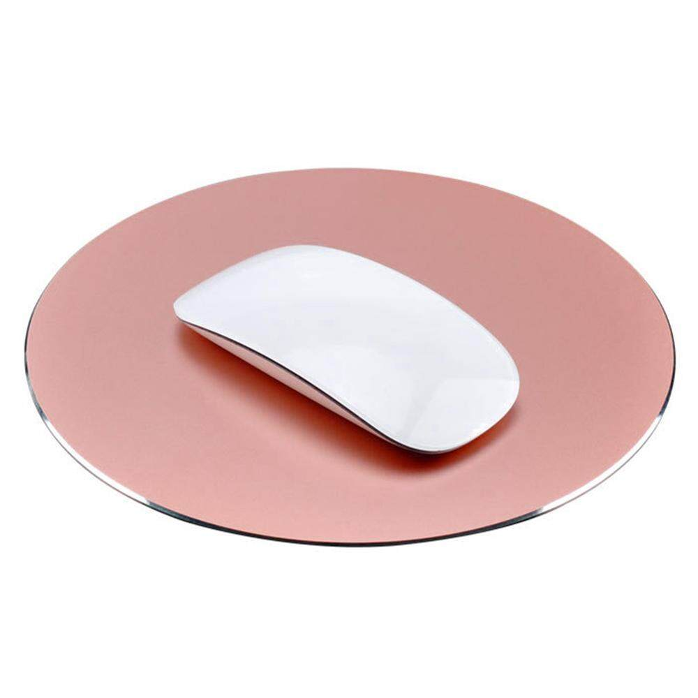 jaxuzha 220x220mm Mouse Mat Circular Gaming Aluminium Metal Mouse Pad With Waterproof Non Slip Rubber Base And Frosted Surface Mousepad For Apple MackBook, Rose Gold