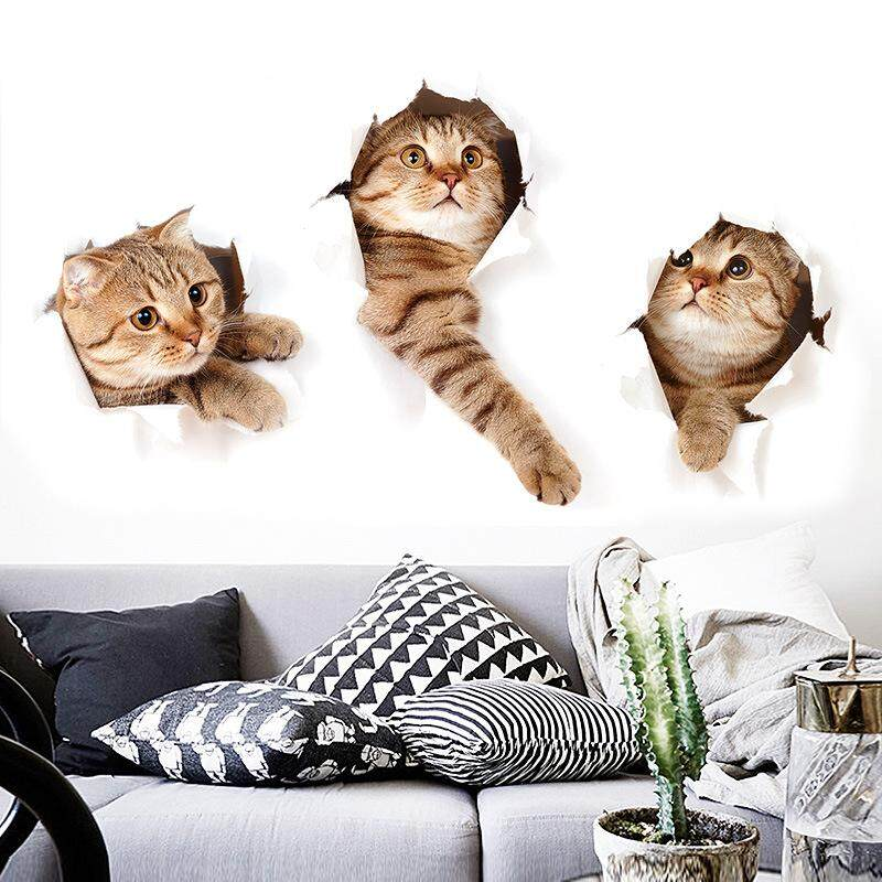 3D Three Cat Wall Sticker Hole View Bathroom Toilet Living Room Kitchen Kid Bedroom Home Decor Decal Poster Wall Stickers - intl