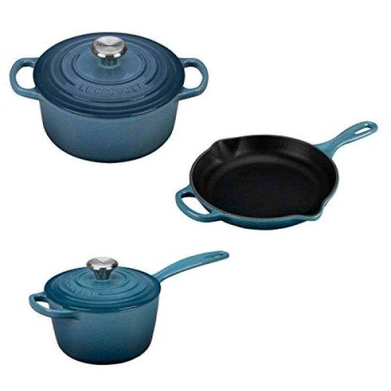 Le Creuset 5 Piece Enameled Cast-Iron Condo Cookware Set - Marine - intl Singapore