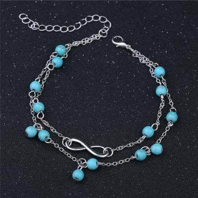 8 Word Double Layer Beads Anklet for Women (SILVER)