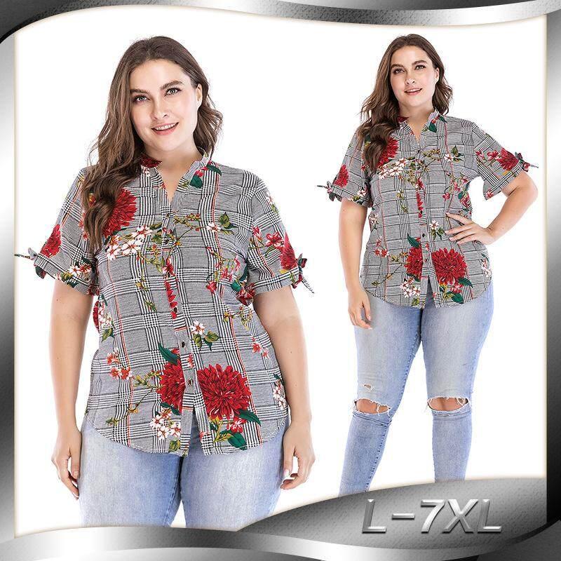 2018 Baru Ukuran Besar Mode untuk Wanita Gemuk Mm Dicetak Slim Lengan Pendek Kaos Baju Borgol 2054