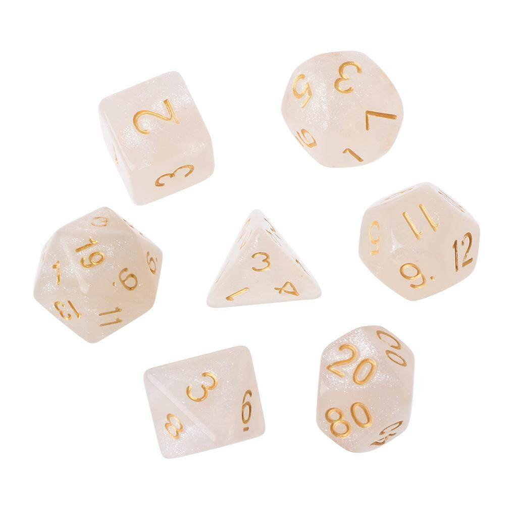 7Pcs Flickering Polyhedral Dice For Dragon Pathfinder D20 D12 2xD10 D8 D6 D4 - intl