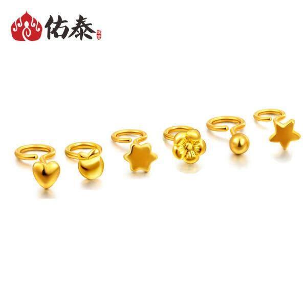 Woo Thai Jewelry 99 Gold Small Earrings Female Models Mini Stars Plum Love Polka Dot
