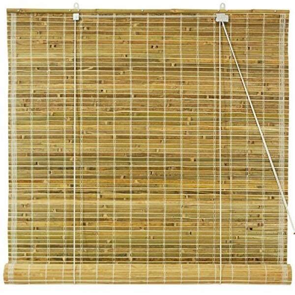Mebel Oriental Dibakar Bambu Gulungan Hingga Blinds-Alami-(24 Dalam. X 72 Dalam.)-Internasional