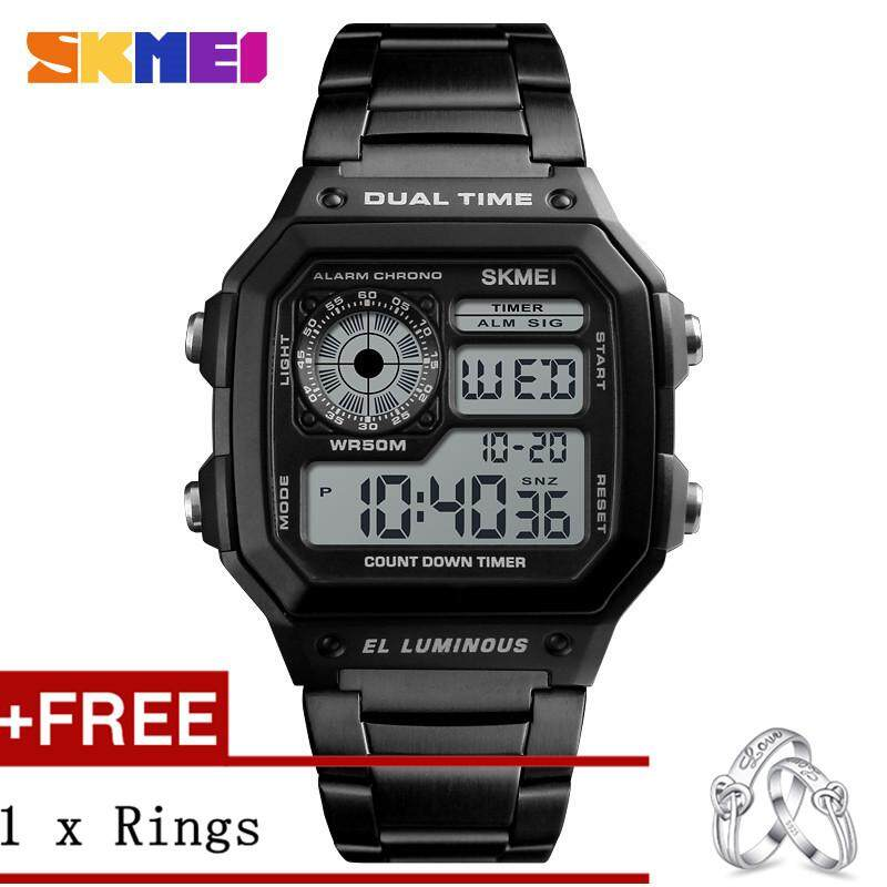 ALEVIN SKMEI Men Sports Watches Count Down Waterproof Watch Stainless Steel Fashion Digital WristWatches Male Clock 1335 + Free a Couple Rings